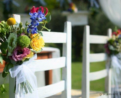 bouquets sedie sposi multicolor