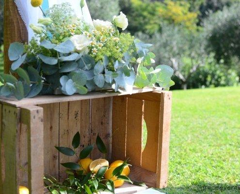 cassette legno limoni fiori