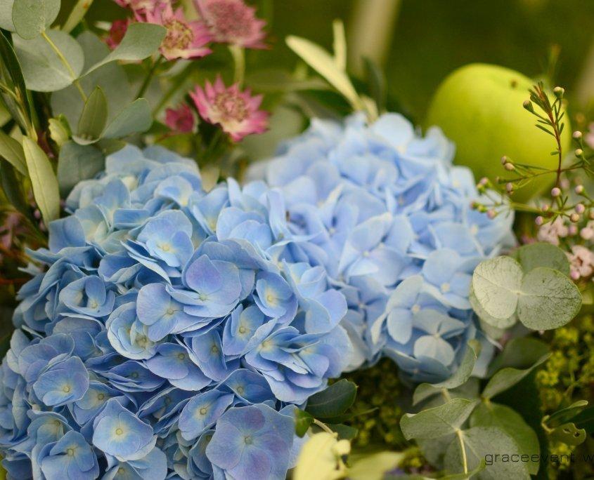 bouquets peonia mele azzurro verde