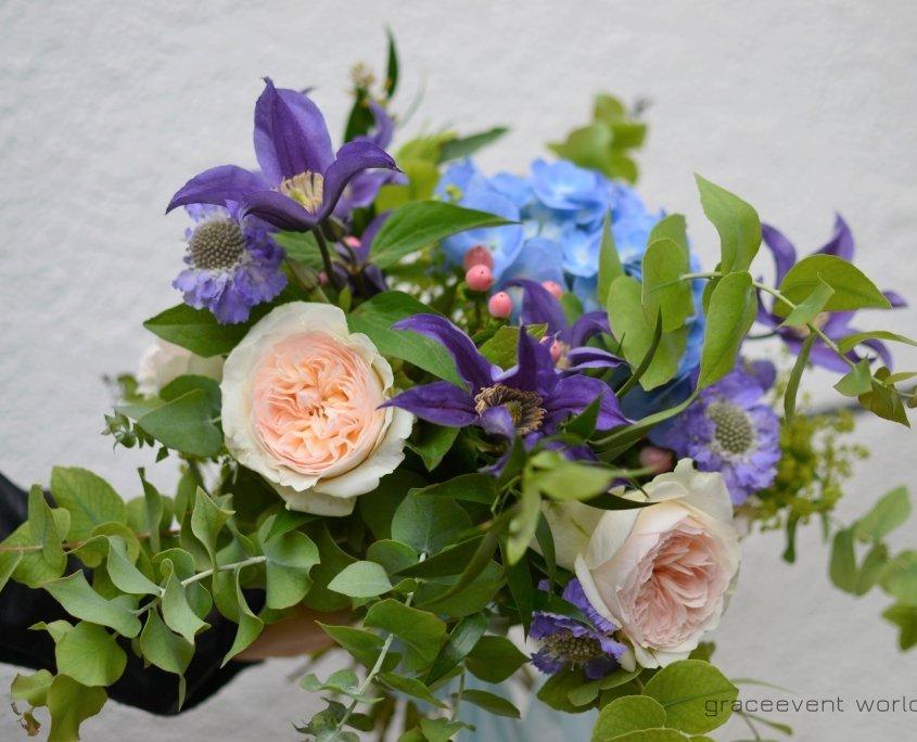 bouquet sposa colorato blu viola